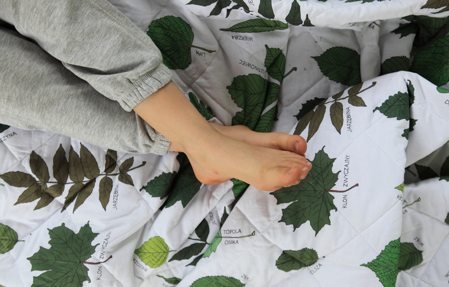 domek-na-drzewie-narzuta-w-liście-las-i-niebo