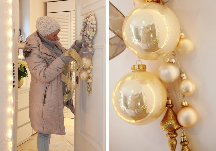 Małe ozdoby świąteczne zawieszone na drzwiach wejściowych do domu, będą miłą niespodzianką dla gości.