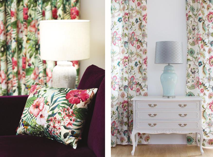 Poszewka dekoracyjna z motywem roślinnym wprost z amazońskiej dżungli. W tle lampa stołowa Hekla 64cm, oraz zaśłony z tej samej tkaniny New Art.