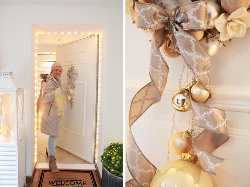 Białe drzwi wejściowe będą świetnie eksponowały świąteczne wianki i dekoracje.