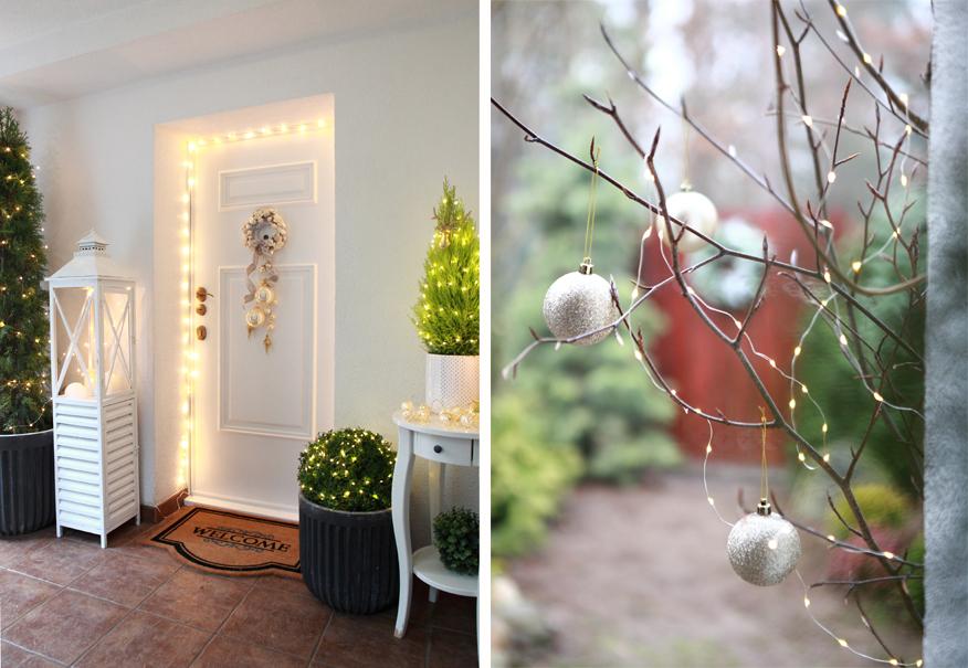Drzwi wejściowe do domu można pięknie udekorować na święta.