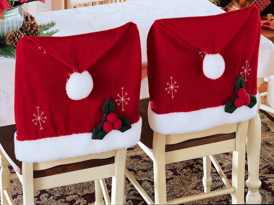 Pokrowce na krzesła mikołaje- ozdabiamy krzesła na święta