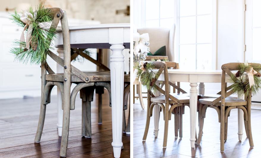 Naturalne dekoracje krzeseł na święta