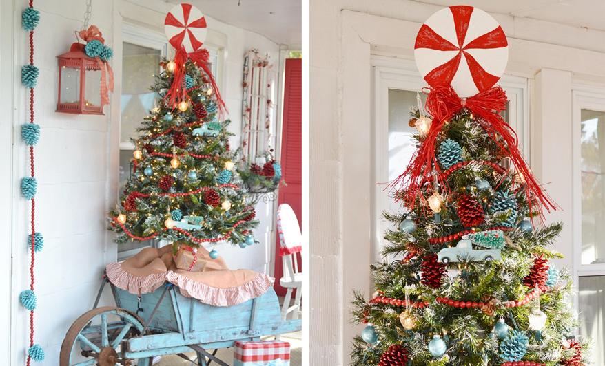 Świąteczne ozdoby ganku w stylu retro
