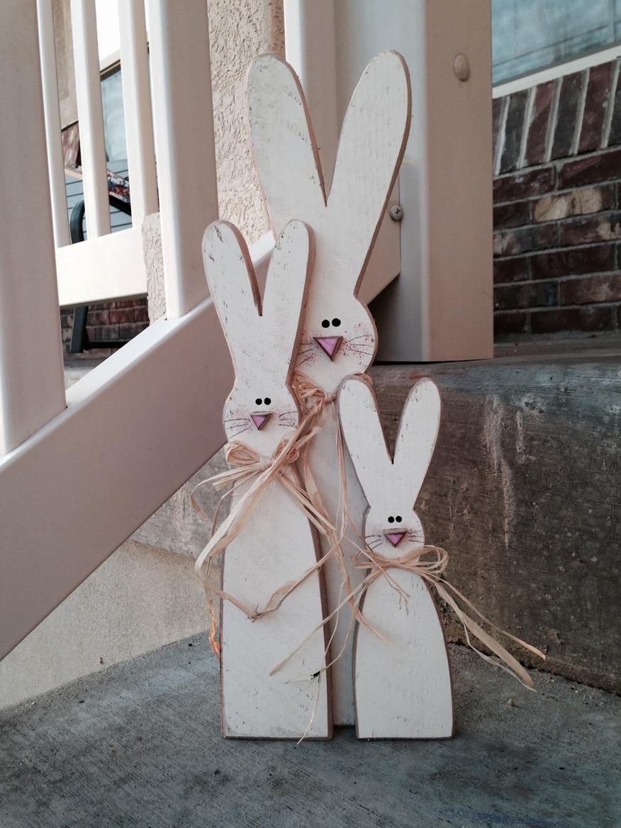Drewniane wielkanocne króliki DIY