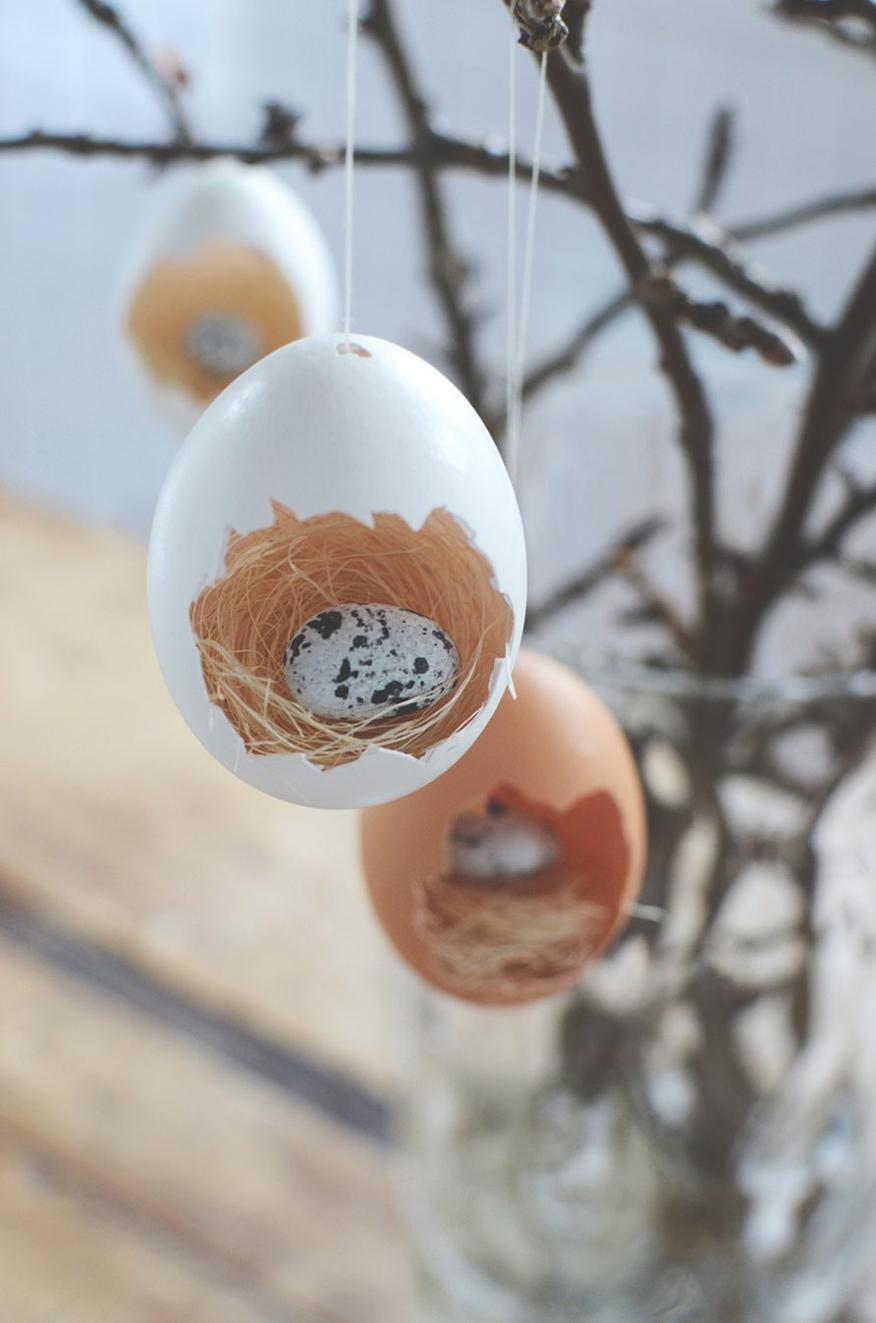 Gniazda z wydmuszek - ozdoby wiosenne i wielkanocne