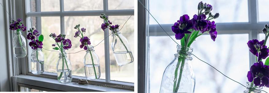 Girlanda z butelek i kwiatów