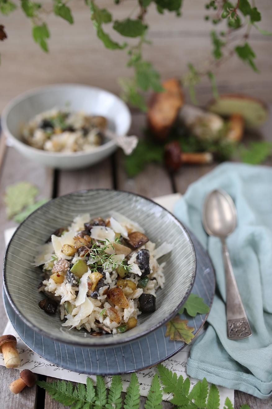 risotto z grzybami i cukinią
