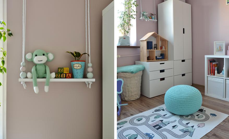półka wisząca huśtawka do pokoju dziecięcego