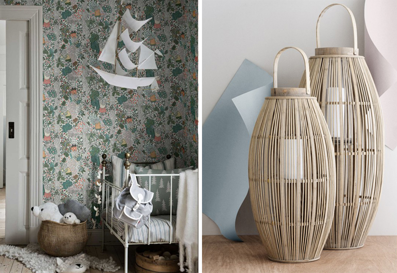 sklepy w stylu skandynawskim lampiony i tapety skandynawskie